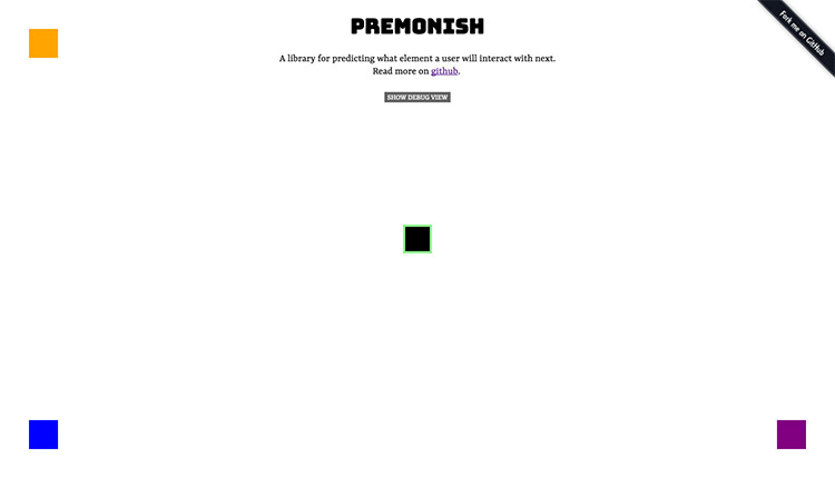 Premonish Github Page; plain white page with four squares.