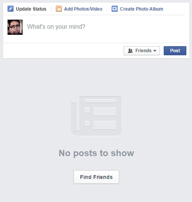 facebook web feed empty state