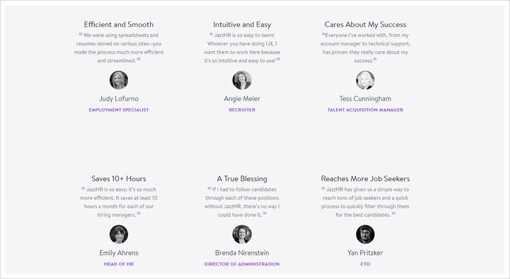 Jazz HR user testimonials
