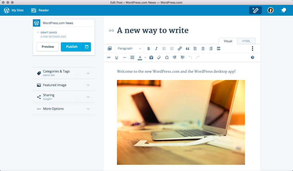 Aplicación de escritorio WordPress.com
