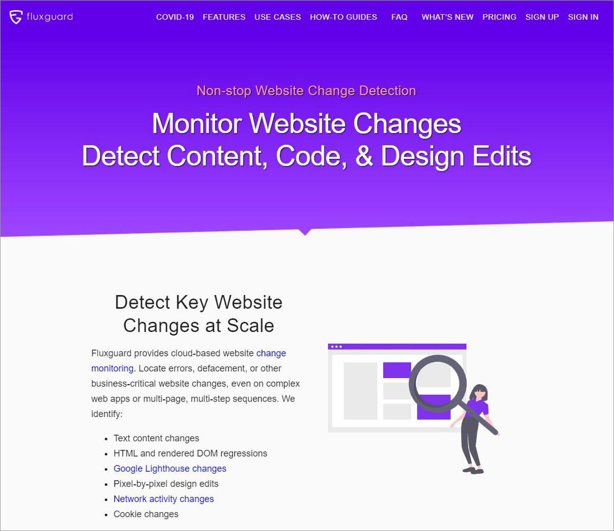 Fluxguard helps monitoring web page changes