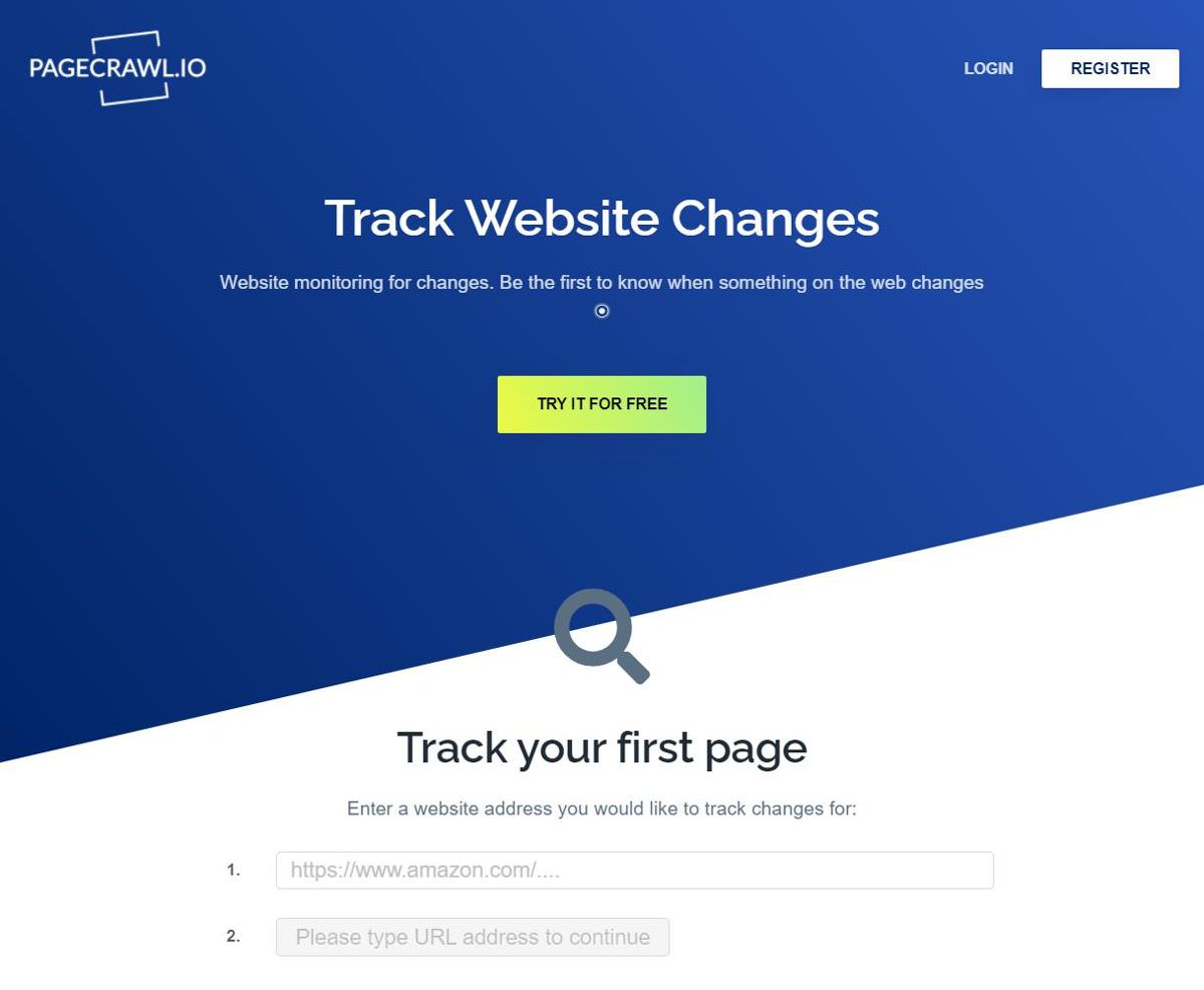 PageCrawl.io helps monitoring web page changes