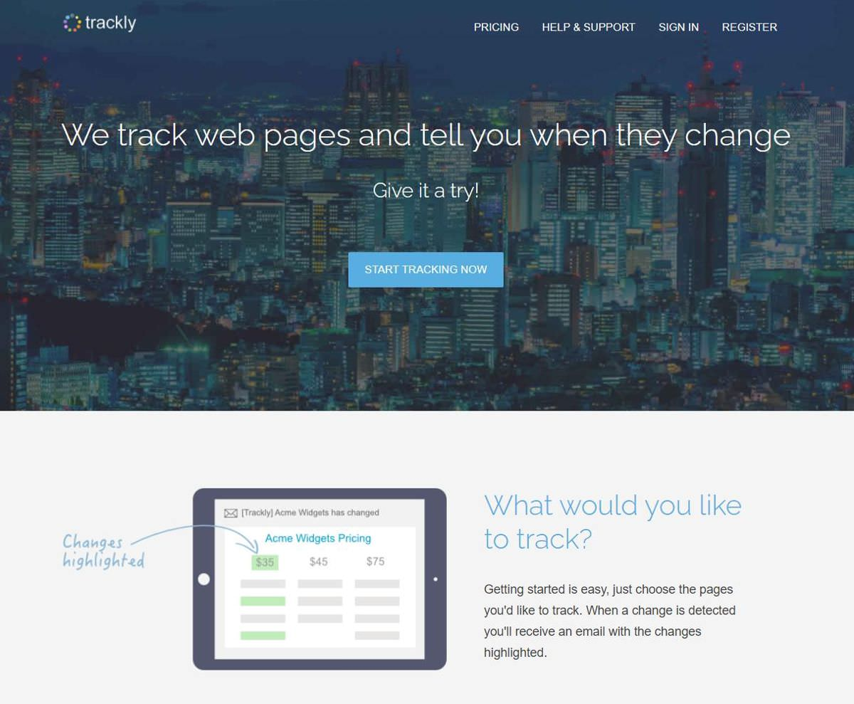 Trackly is a web page change tracking solution