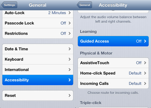 tap accessibility then guide access