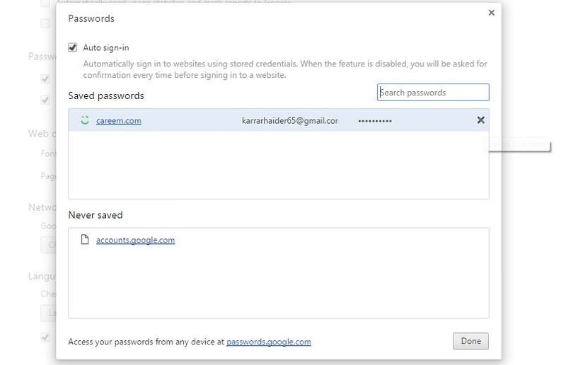 manage google passoword