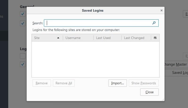 manage firefox password
