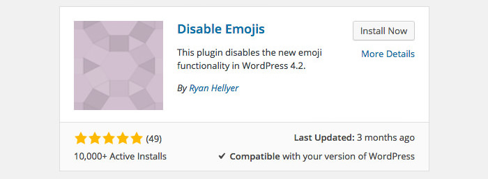 The Disable Emojis plugin