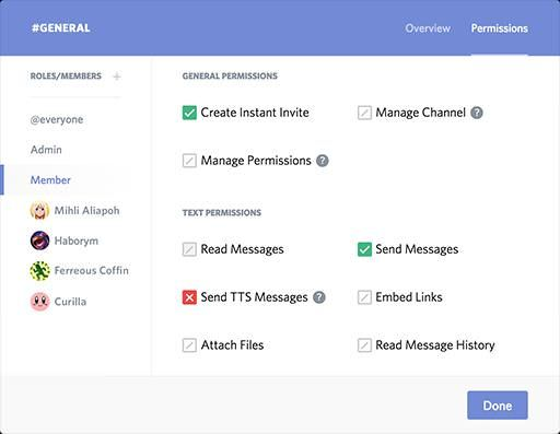 Manage permissions in Discord's server