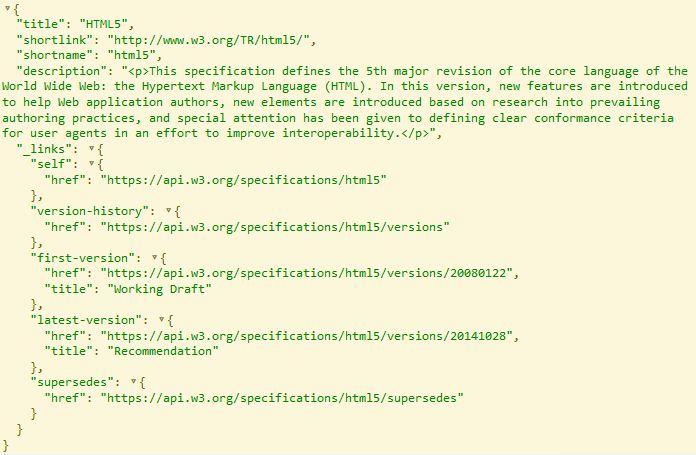 W3C API JSON