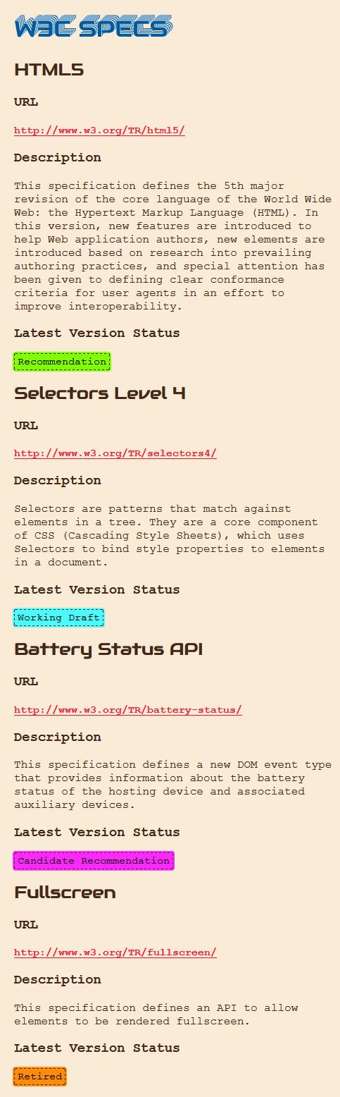 W3C API Output