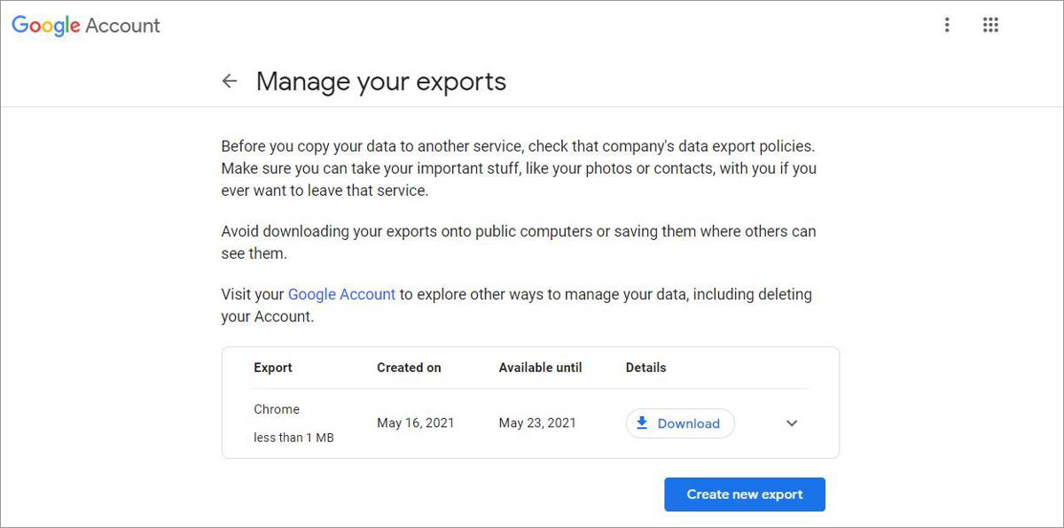Manage your exports with Google Takeout