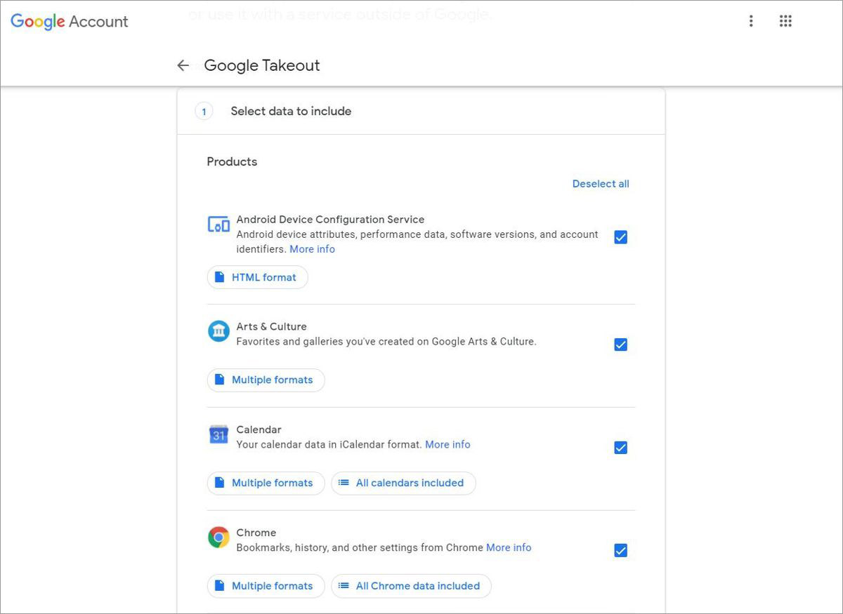 Select data to include in Google Takeout