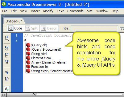 dreamweaver  auto code completion