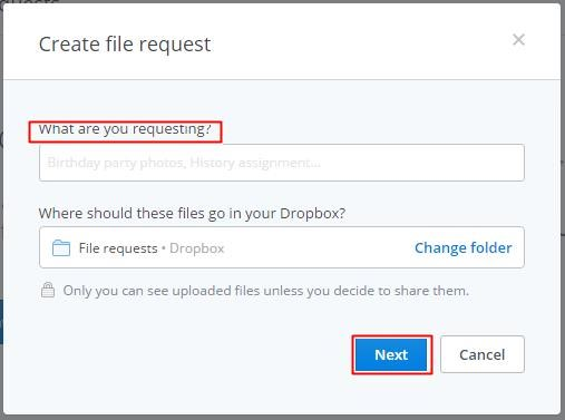Create file request in Dropbox