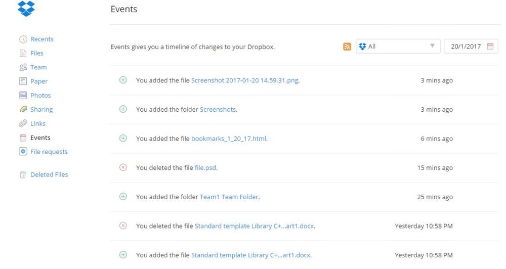 Events log of Dropbox