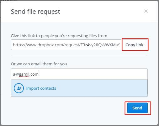 Send file request in Dropbox