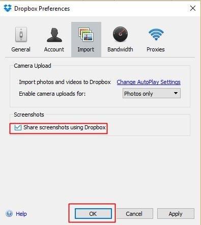 Share screenshots using Dropbox