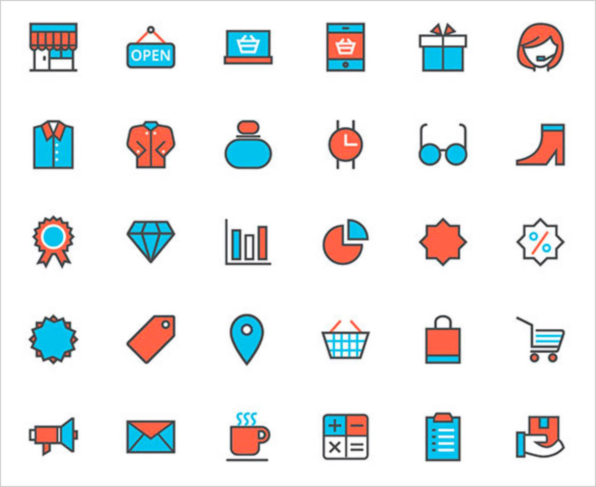 free-vector-flat-shopping-line-icons
