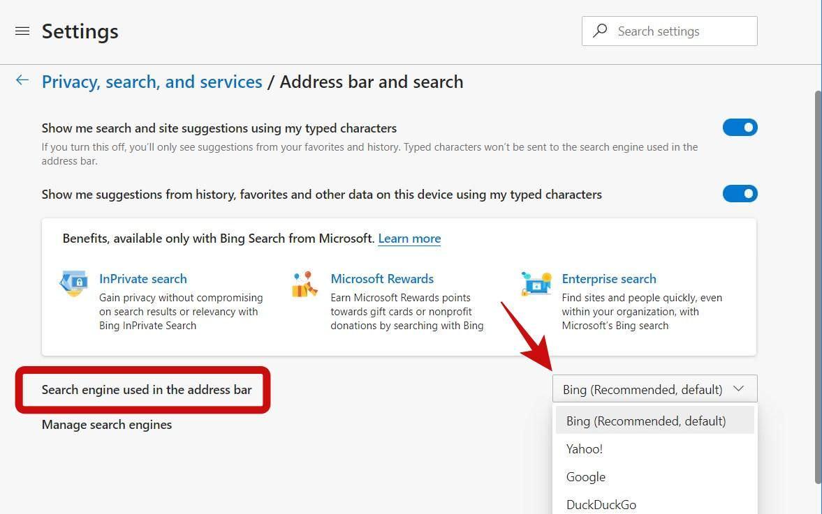 Изменить поисковую систему по умолчанию в Edge