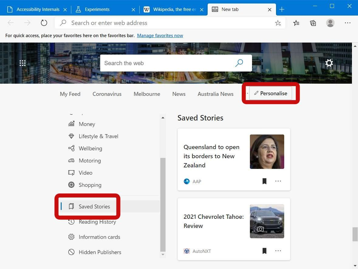 Read saved stories in Microsoft Edge
