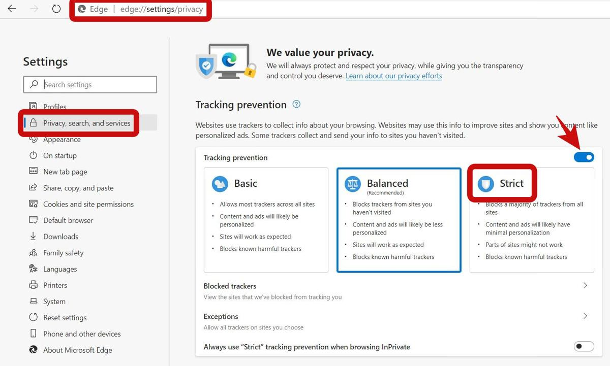 Review your Privacy Settings in Edge