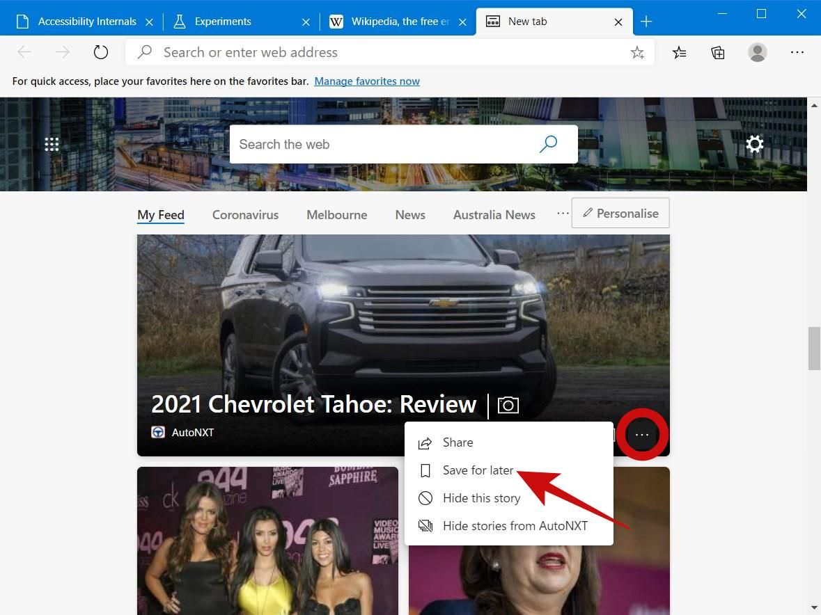 Save News Posts for Later in Edge