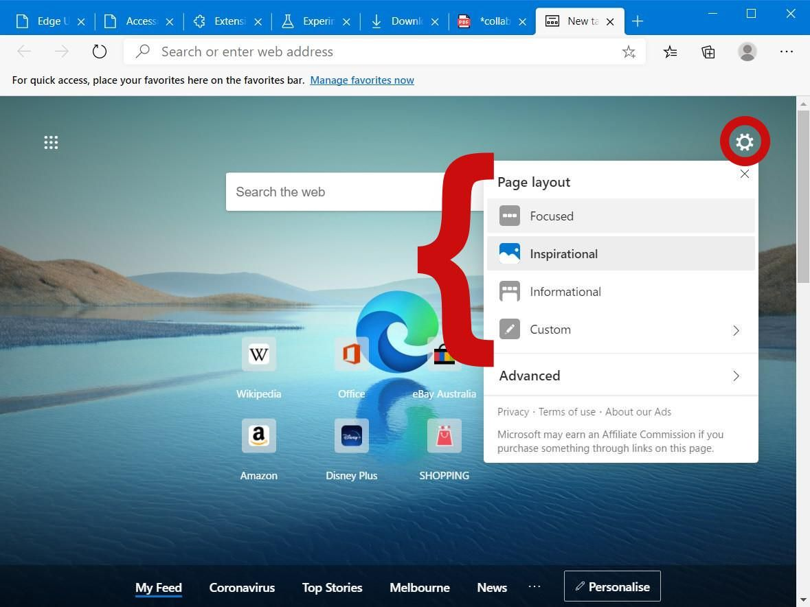 Switch between Homepage layouts in Edge