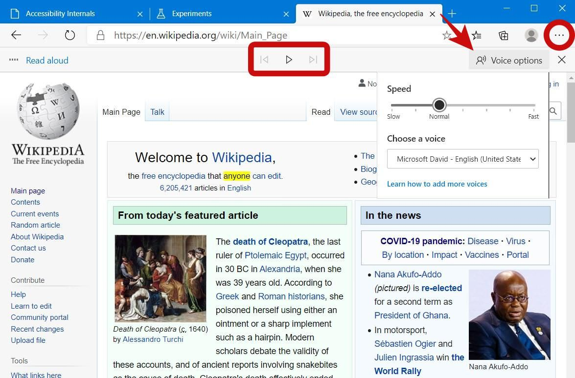 Use Read Aloud to Listen to Web Pages