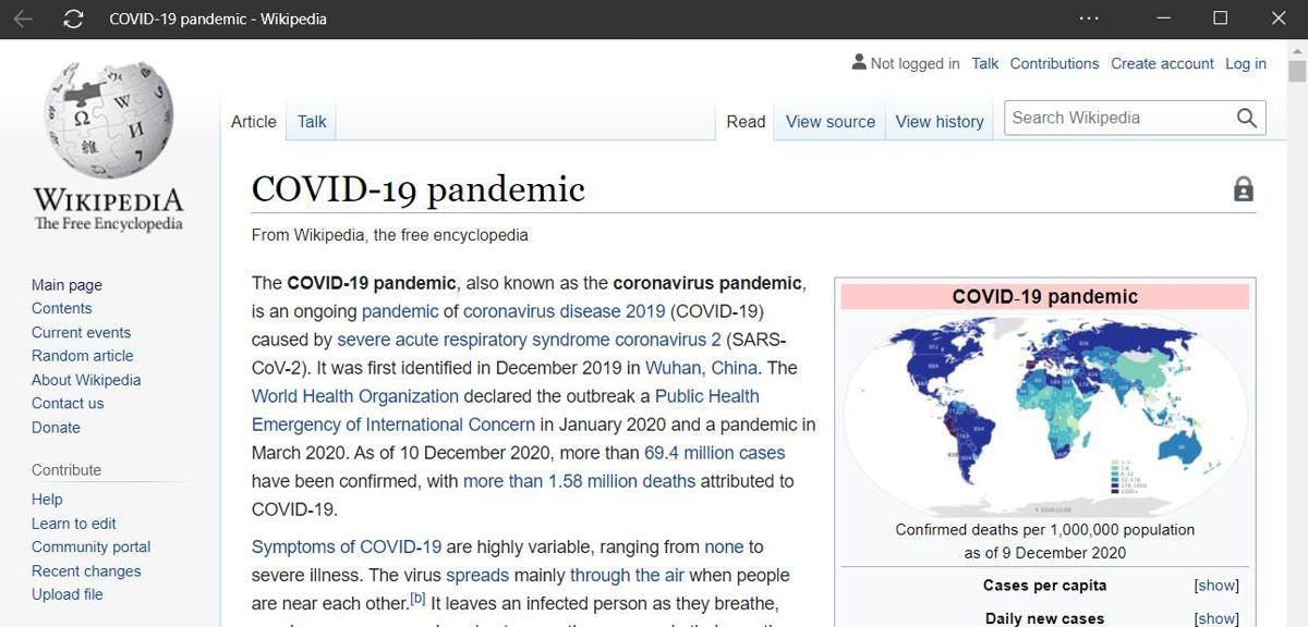 Wikipedia as an app via Microsoft Edge