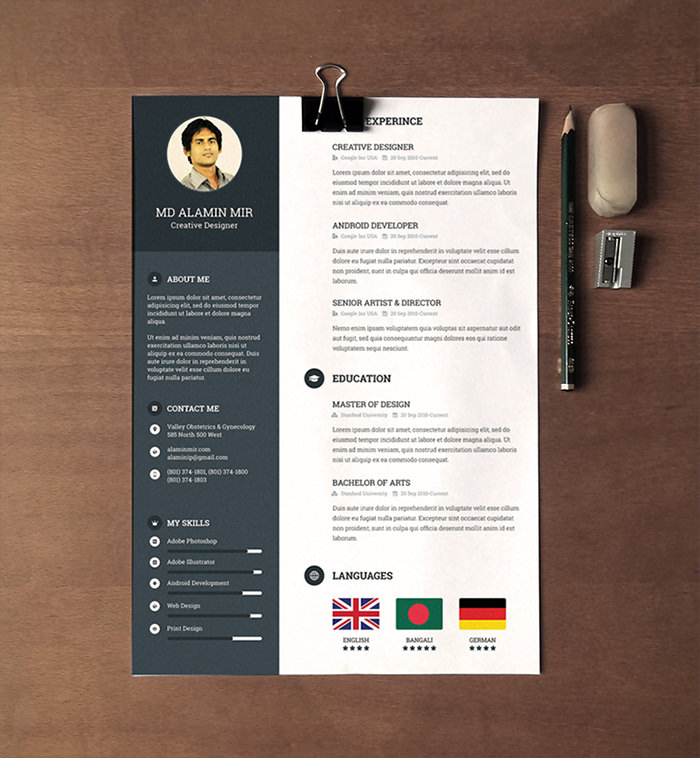 30 free beautiful resume templates to download hongkiat - Resume Template Free