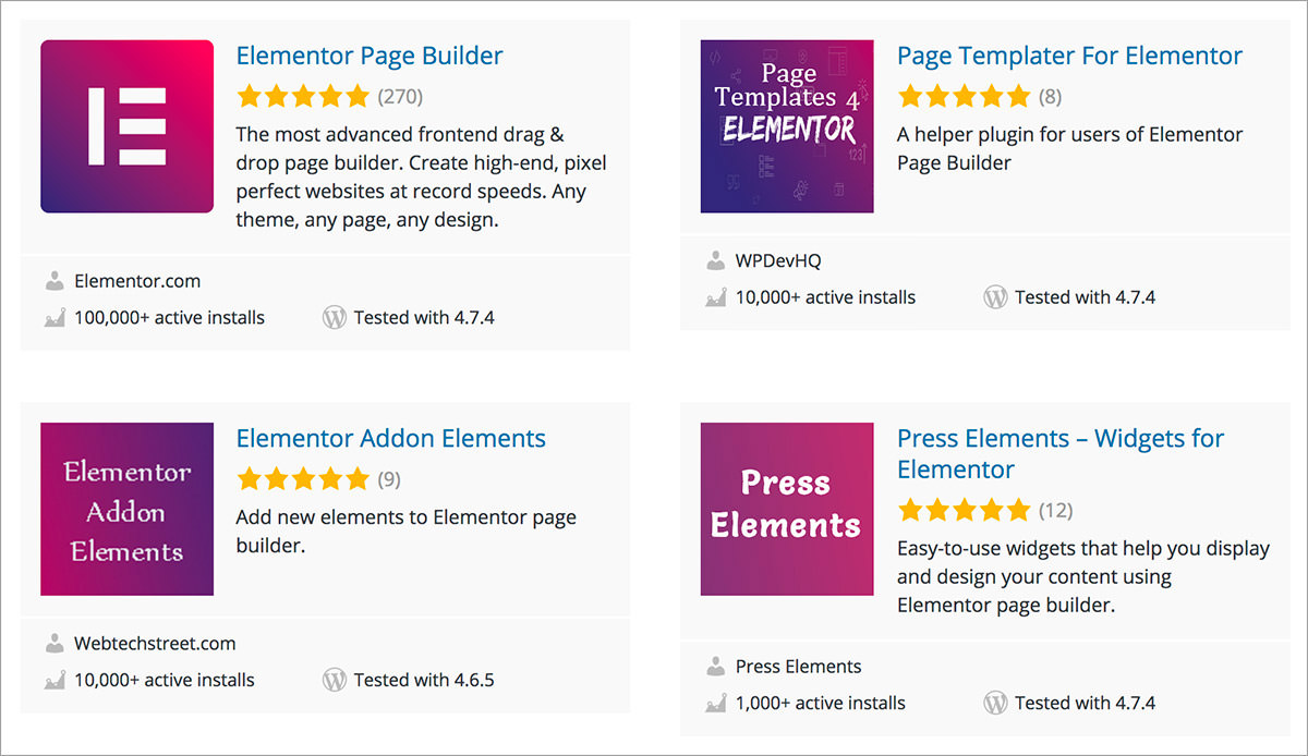 elementor wordpress directory