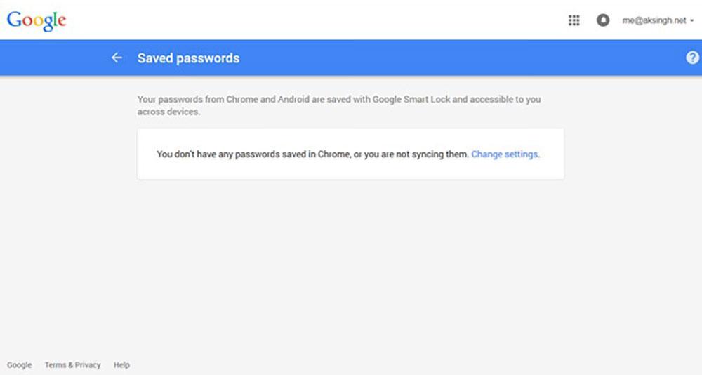 google saved password