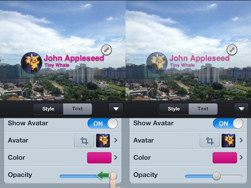 adjust template opacity