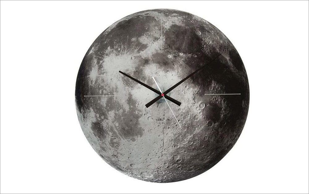 >Present Time Karlsson Moon Glass Wall Clock