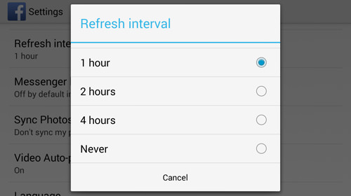 Choose Notifications Refresh Interval
