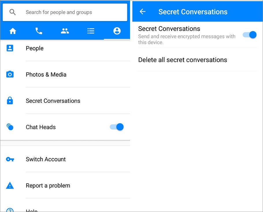fb messenger secret conversion