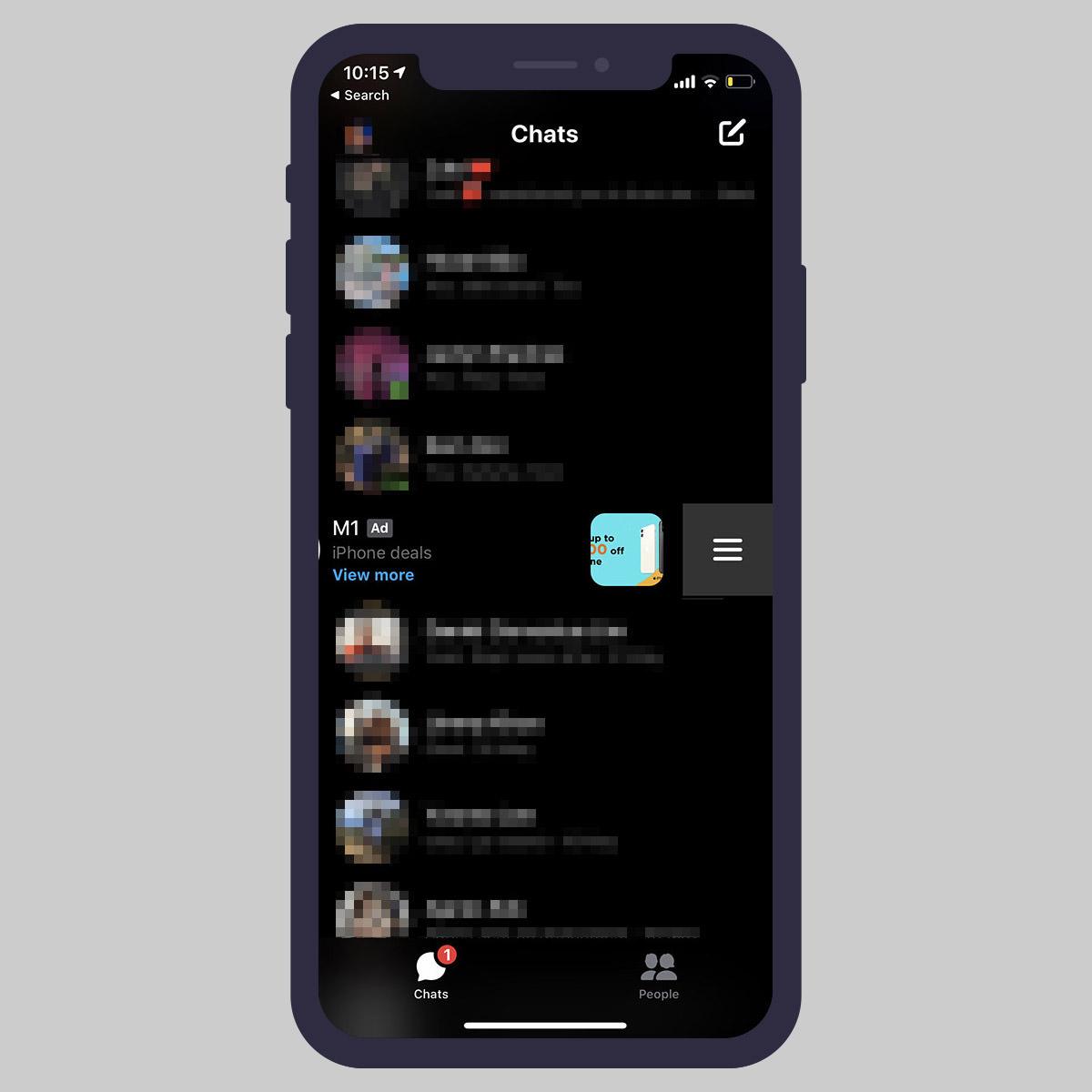 messenger swipe left