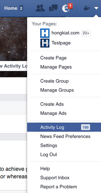 Facebook Get to Activity Log