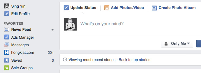 Facebook Sidebar Saved