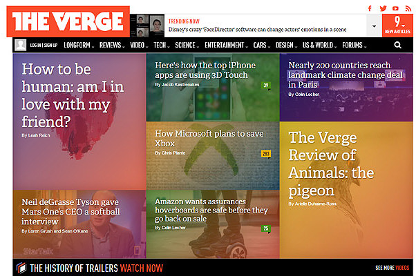 the verge homepage