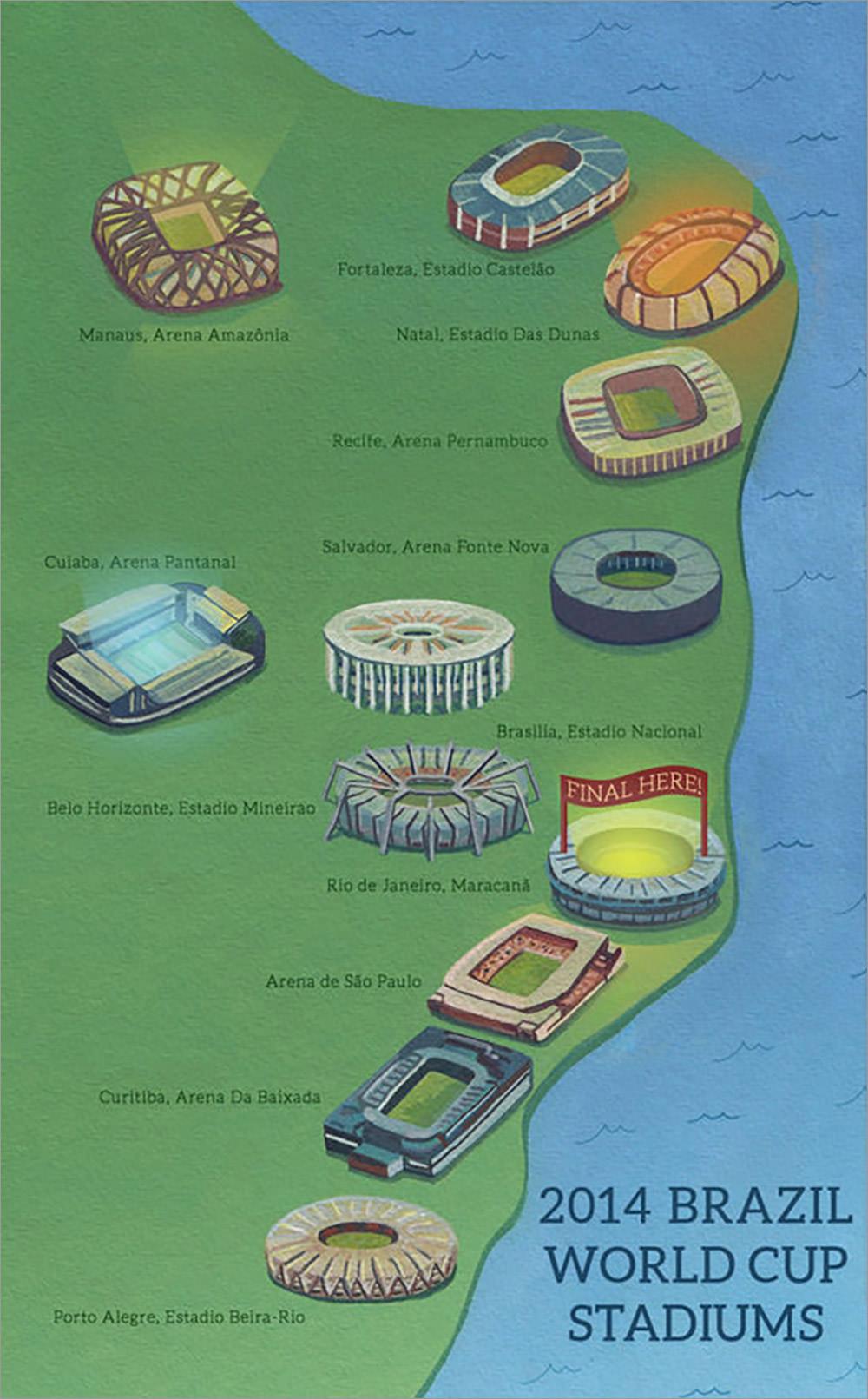 Brazil World Cup 2014 Stadium Ilustrated Map