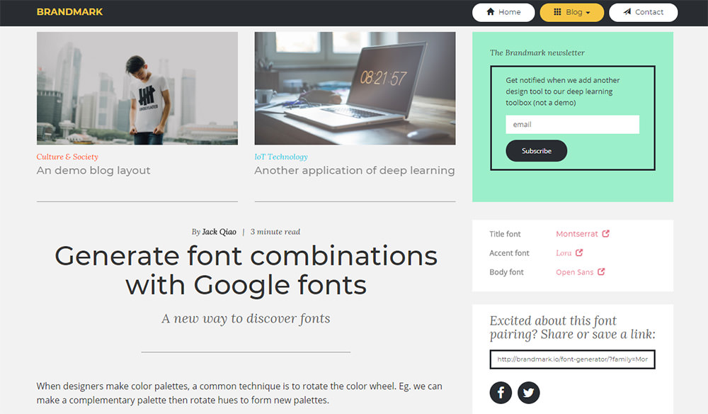 web font tester screen