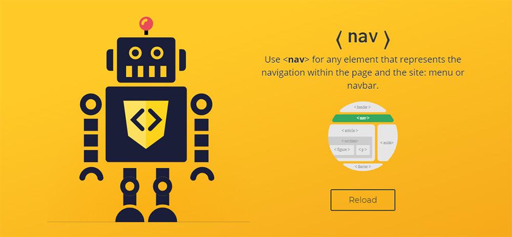 html5 semantic codes robot