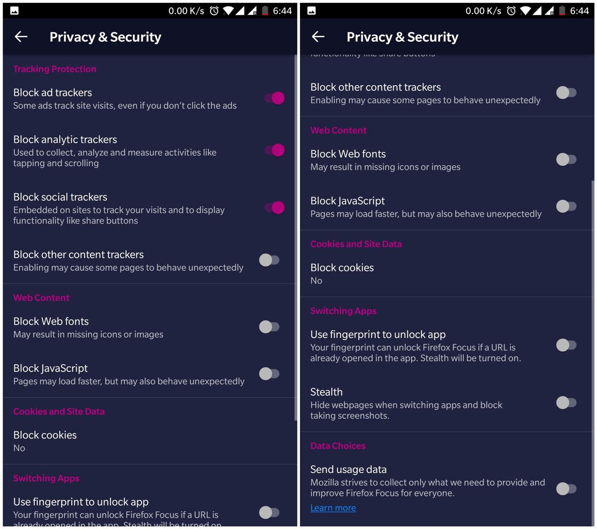 Privacy & security features of Firefox Focus