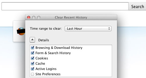 Firefox shortcut command for clearing history and private data