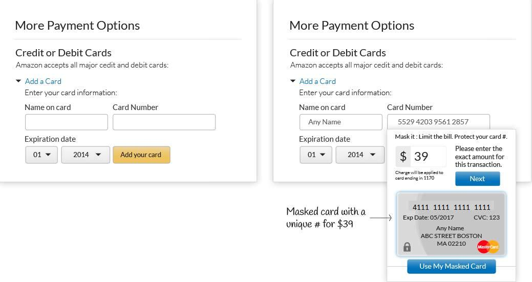 Blur can mask debit or credit cards