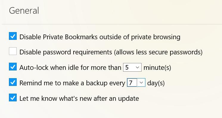 Settings of Private Bookmarks in Firefox
