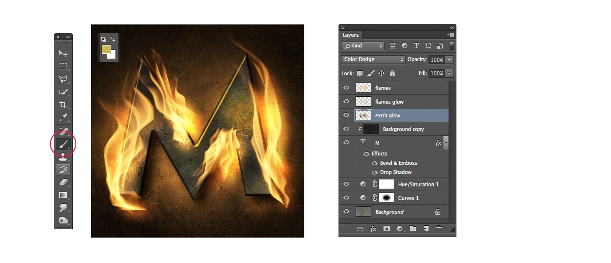 flaming text effect photoshop