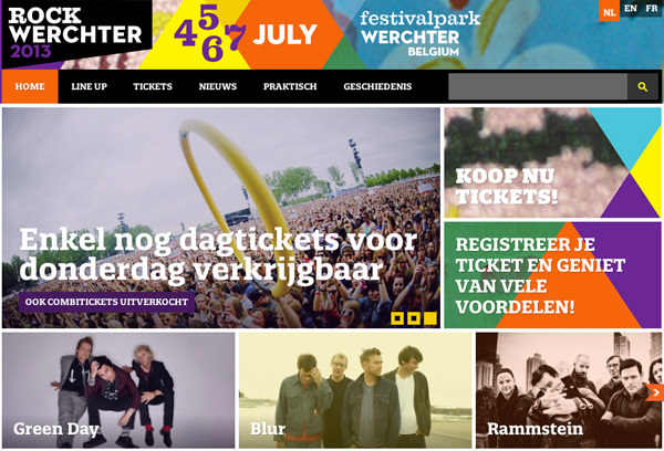 rock werchter flat website layout music concert