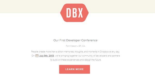 flat website conference dropbox homepage layout